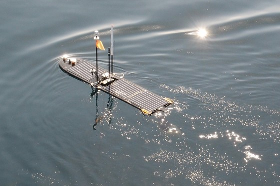 a scientific floating device on the sea