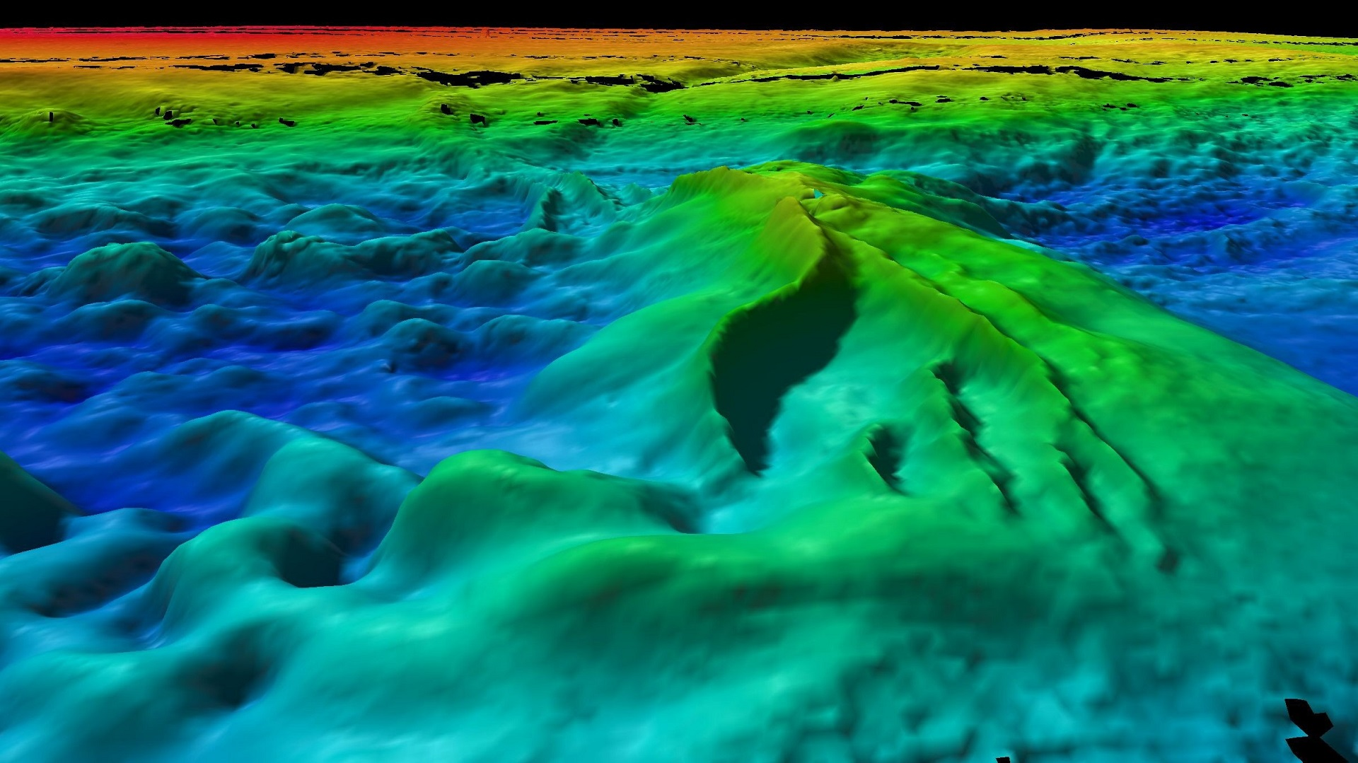 a false colour underwater map showing the relief of the seafloor